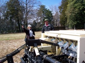 Laura Fog, USF&W and John Kiger, Reynolda Gardens staff with seeder